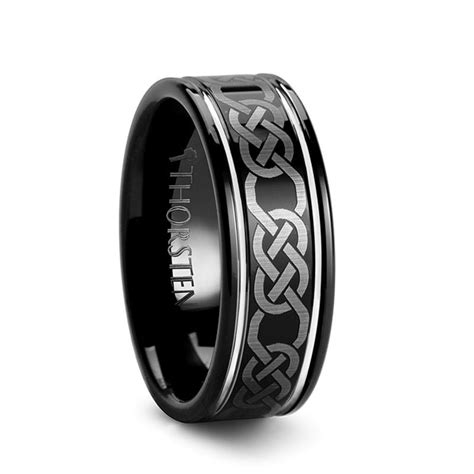 waterford black celtic tungsten wedding band for