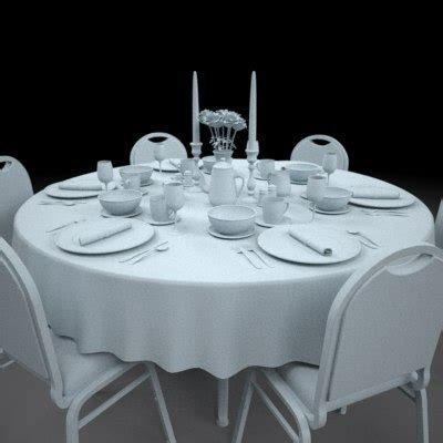dining room plate sets dinning table set plate 3d model