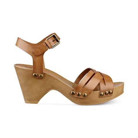 clog sandals for lyst g by guess womens jackal platform clog sandals in brown