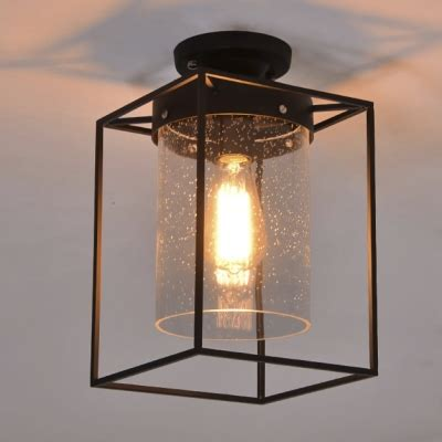 flush mount ceiling light seeded glass seedy glass shade ceiling fixture wire cage semi