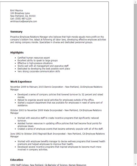 professional employee relations manager templates to