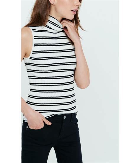 Striped Ribbed Turtleneck express striped sleeveless ribbed turtleneck sweater in