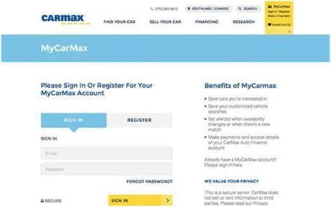 carmax account login wwwcarmaxcom auto loan pay  bill