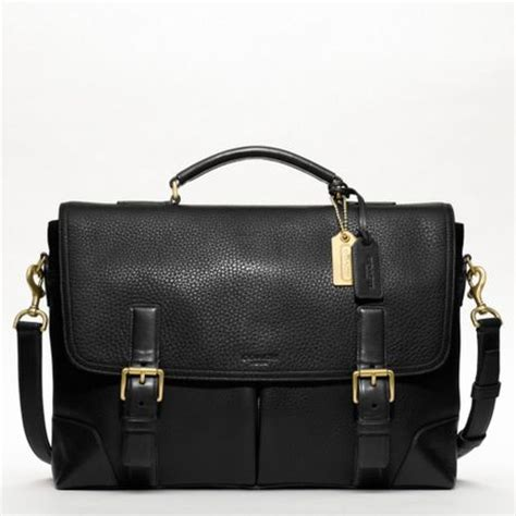 Coach Leigh Leather Flap Bag by Coach Crosby Leather Flap Business Brief In Black For