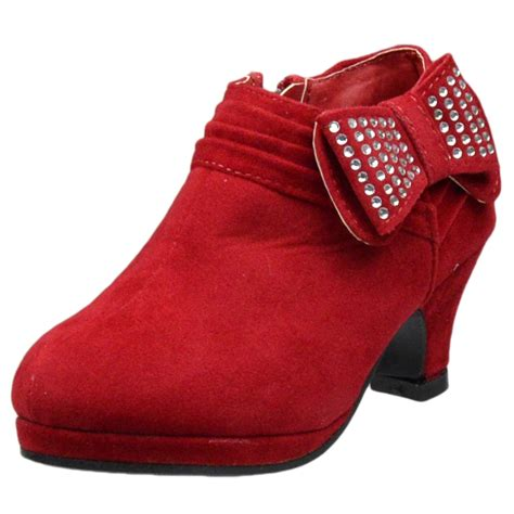 kid high heels ankle boots rhinestone embellished bow high heel
