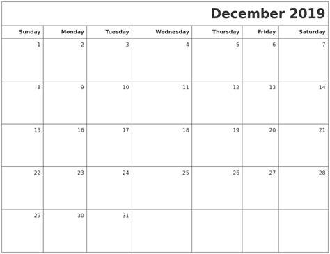 Printable Blank Calendar December 2019 Printable Blank Calendar