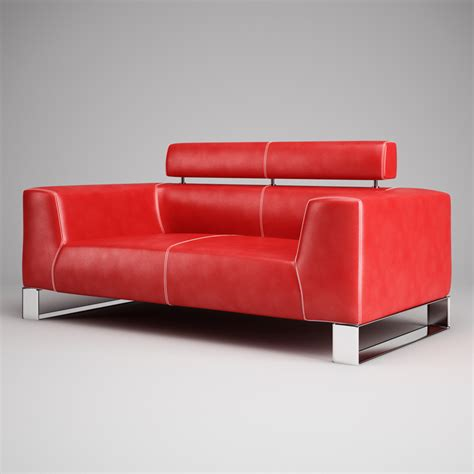 red leather sofa red leather sofa 01 3d model max obj fbx c4d