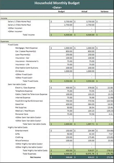 home expense budget template monthly household budget running a family with monthly