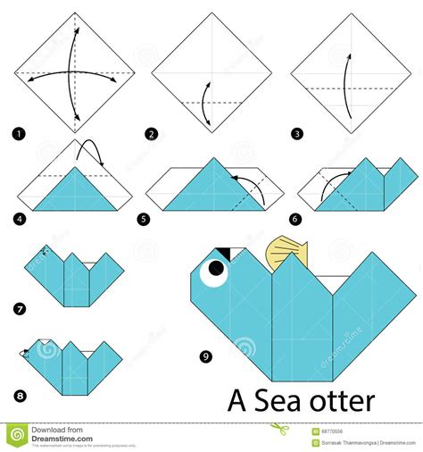 How To Make Origami Sea Animals - step by step how to make origami a sea otter