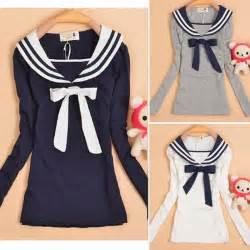 Bow Sailor Collar Sleeve Top striped collar sailor style womens self tie bowtie casual