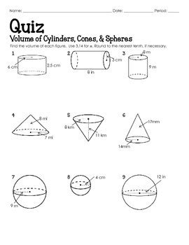 Volume Of A Sphere Worksheet by Quiz Volume Of Cylinders Cones And Spheres By