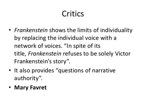 analysis of frankenstein quotes critics frankenstein