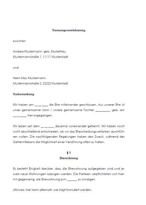 Mahnung Unterhalt Muster Trennungsvereinbarung Vorlage Zum