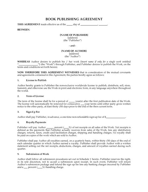 Book Publishing Agreement Non Exclusive Legal Forms And Business Templates Megadox Com Book Publishing Contract Template