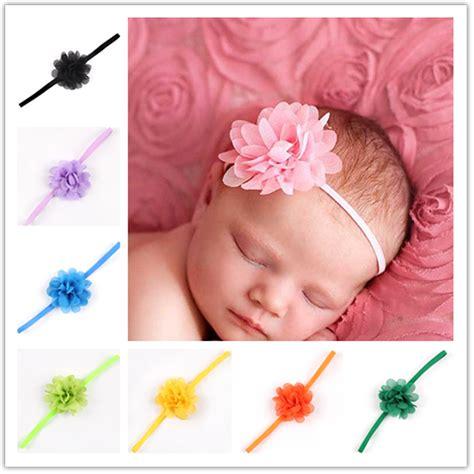 Headband Baby Jingga Flower 2 newborn baby satin ribbon flower headbands photography props infant baby headband children
