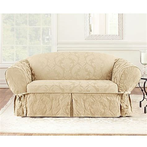matelasse sofa slipcovers buy sure fit 174 matelasse damask 1 piece sofa slipcover in