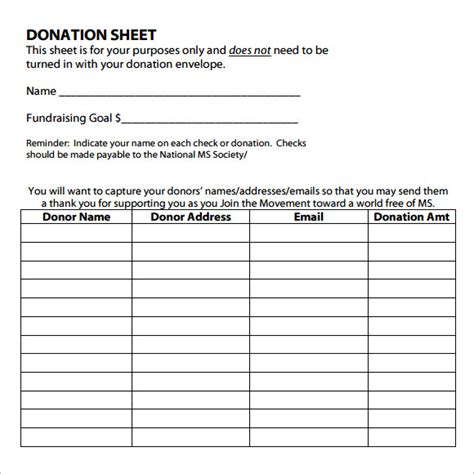 contribution list template itemized donation list printable sle pccatlantic