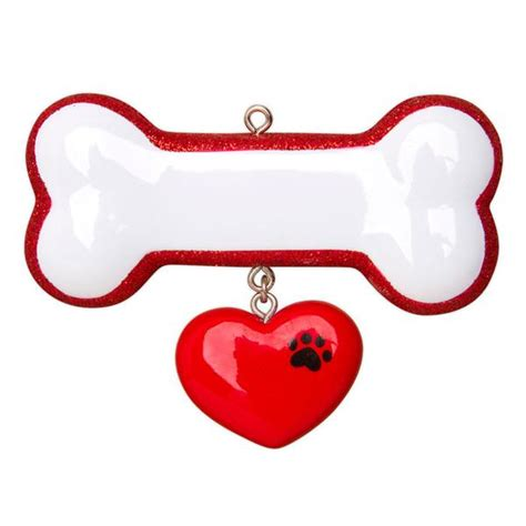 or1403 dog bone w ribbon personalized christmas ornament
