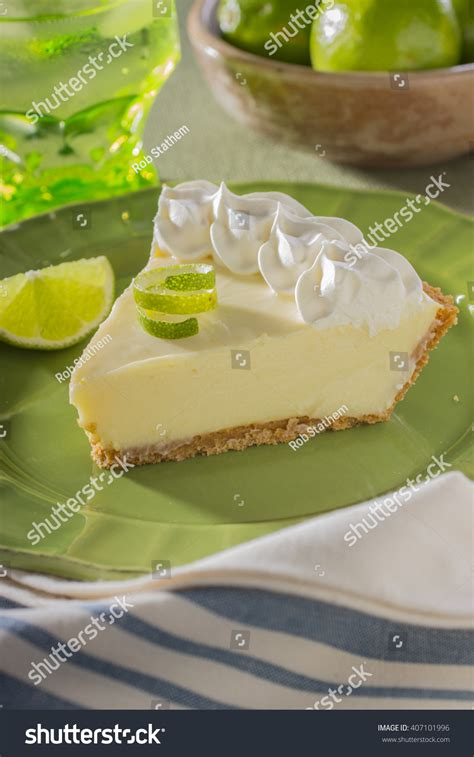 Lime Cheese Slice slice key lime pie bowl limes stock photo 407101996