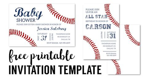 Baseball Party Invitations Free Printable Paper Trail Design Baseball Invitation Template