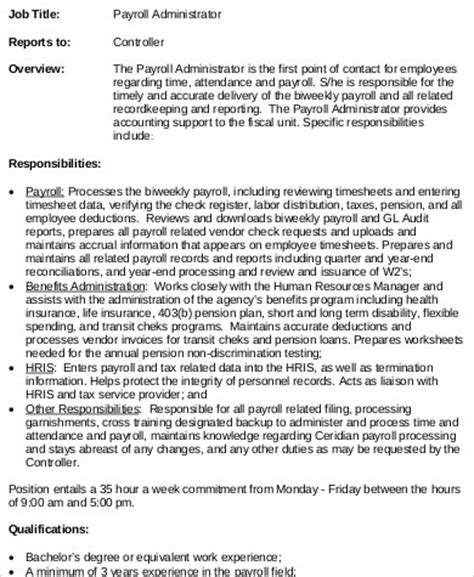 payroll administrator job description sle 8 exles
