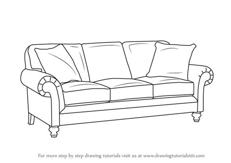 Learn How To Draw Sofa by Learn How To Draw Sofa Furniture Step By Step Drawing