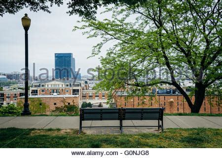 park bench federal hill federal hill park baltimore city maryland usa stock photo