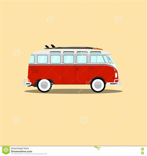 vintage surf car vector retro with surfboard stock vector