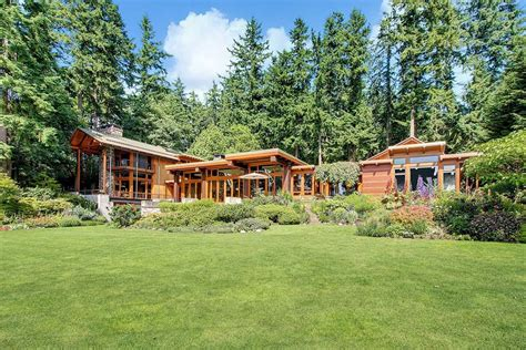 beautiful house of wood and steel on bainbridge