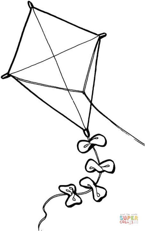large kite coloring page kite coloring page free printable coloring pages