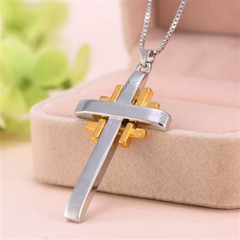Handmade Friendship Gifts - handmade unisex cross sapphare necklace