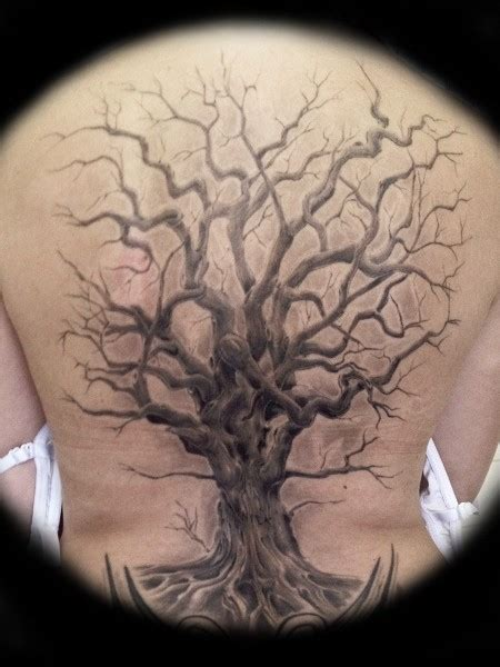 great realistic tree tattoo on back tattooimages biz