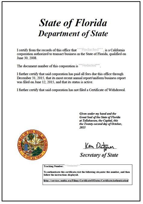 Are Certificates Record In Florida Florida Certificate Of Standing Certificate Of Status Harbor Compliance