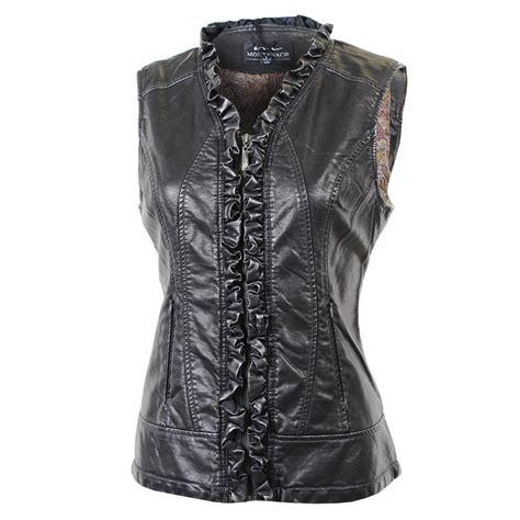 Ruffle Vest by Montanaco Faux Leather Ruffle Vest S Glenn