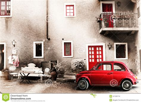 vintage scene photos old vintage italian scene small antique red car aging effect