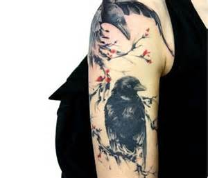 The two ravens in love season the chinese ink painting style and the