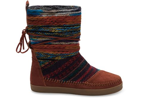 toms cognac suede textile mix s nepal boots in brown