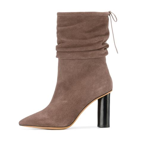 brown slouch boots pointy toe suede block heel mid calf