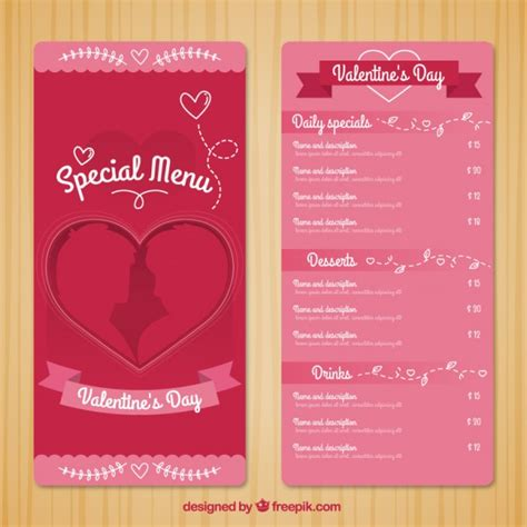 special menu template for day free vectors