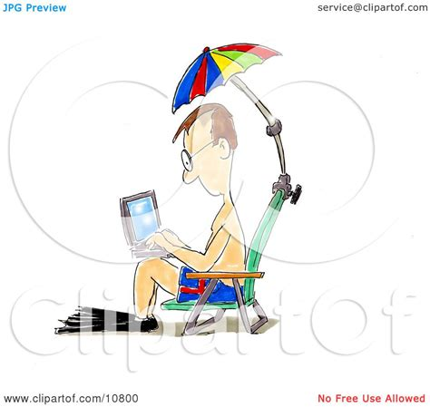 Surf The Web With The Umbrella by A In Swimming Gear Seated In A Chair An