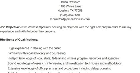 Victim Witness Specialist Sle Resume by Resume Sles Sle Victim Witness Specialist Resume