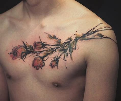 watercolor tattoo on chest 18 ideas for guys styleoholic