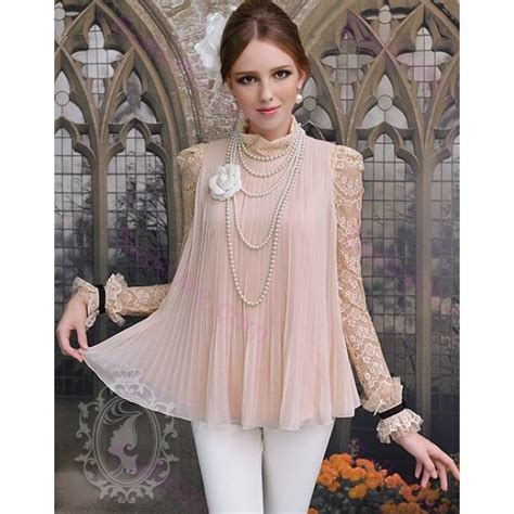 Lovely Lace Blouses by Lovely Chiffon Blouse With Lace Sleeves Pictures Photos