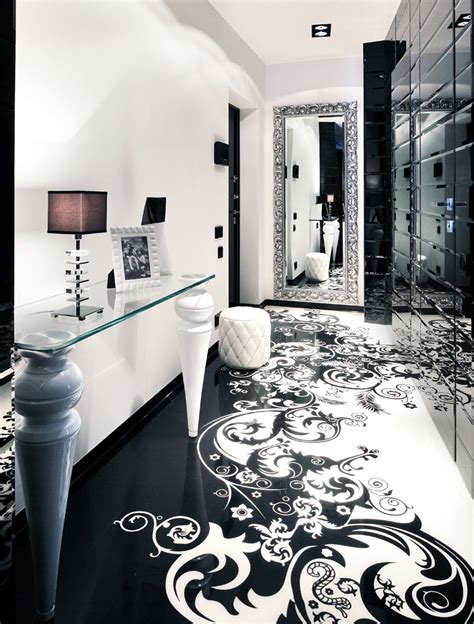black white hallway interior design ideas