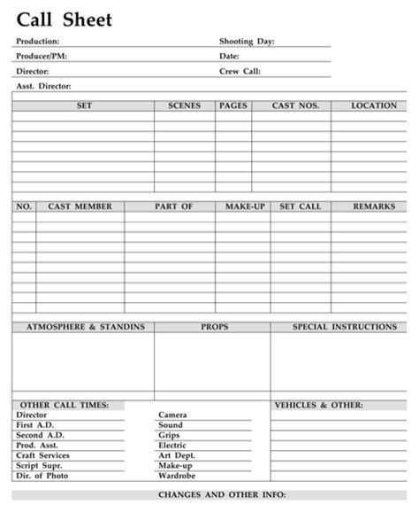 download call sheet template for free formtemplate