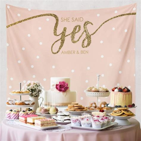 wedding shower table decorations engagement tapestry dessert table decor photo booth prop