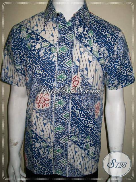 batik cowok keren gaul biru harga murah kualitas bagus