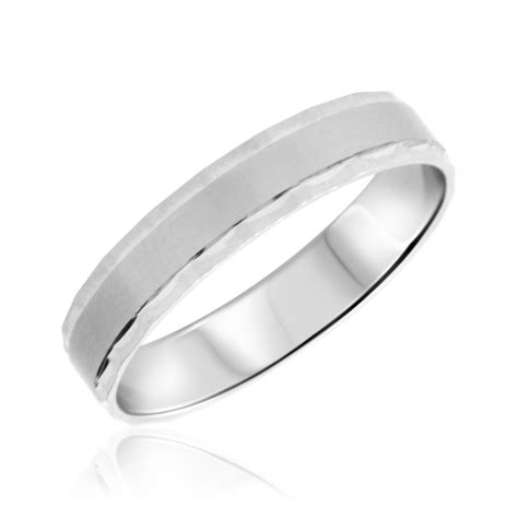 diamondstraditional mens wedding band  white gold