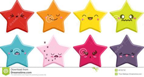 imagenes de estrellas kawaii estrellas de kawaii fijadas ilustraci 243 n del vector