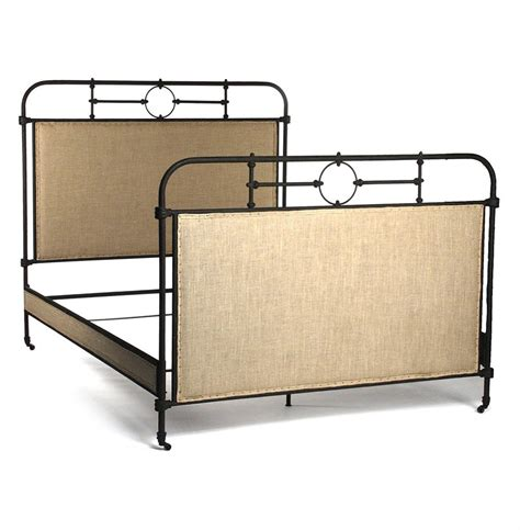 industrial beds alaric burlap antique iron industrial rustic queen bed frame kathy kuo home